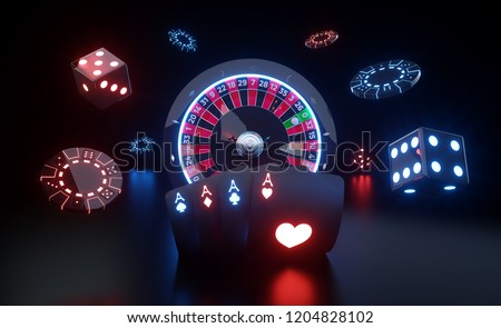 Casino Gambling Concept. Roulette Wheel, Four Aces, Chips And Dices With Futuristic Red And Blue Neon Lights - 3D Illustration ストックフォト ©