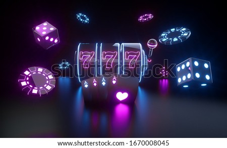 Casino Gambling Concept With Futuristic Purple And Blue Neon Lights - 3D Illustration