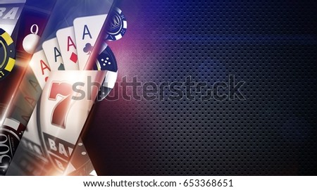 Casino Games Background Illustration with 3D Rendered Elements. Casino Gambling Backdrop with Copy Space.