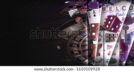 Casino games banner design with roulette wheel, slots reels, playing cards, red dices, falling poker gambling chips and Las Vegas style casino sign. 3D Rendered illustration on dark background