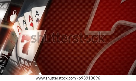 Casino Games Copy Space Banner with Lucky Sevens, Black Jack Cards and Slot Machine Elements 3D Rendered Illustration.