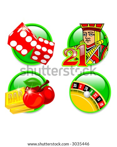 Casino games icons: Craps, BlackJack, Slots and Roulette
