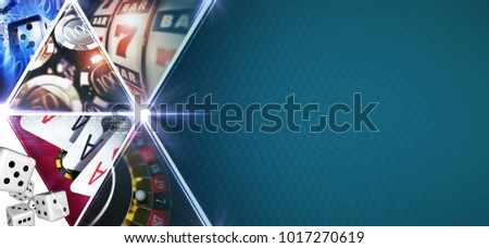 Casino Games Mosaic Banner with 3D Rendered Gambling Elements Like Roulette,Slot Machines, Blackjack Playing Cards and Chips. Blue Texture Right Side Copy Space. #1017270619