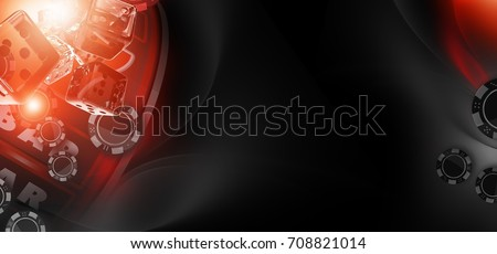 Casino Gaming Concept Banner with Copy Space. 3D Rendered Illustration. Hot Red and Black Colours. Slot Machine, Glassy Transparent Dices and Casino Chips.