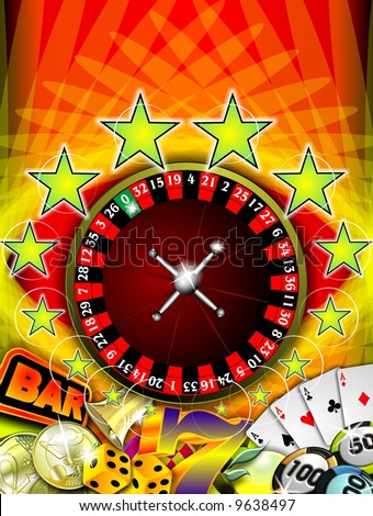 casino illustration with roulette