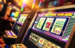 Casino Interior and Row of Classic Slot Machines. Las Vegas Gambling Theme.