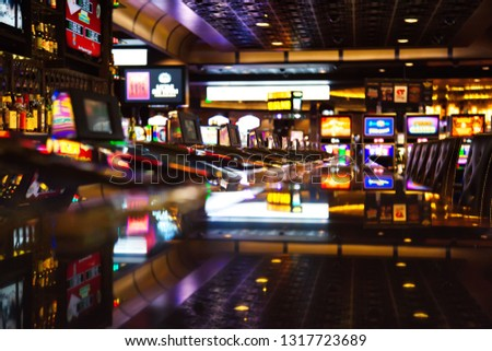 Casino machines in the entertainment area at night