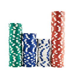 Casino playing chips stacks isolated over white background