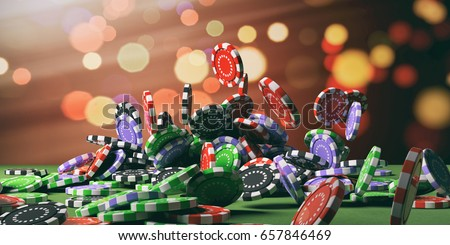 Casino poker chips falling on green felt background. 3d illustration