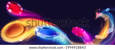 Casino poker chips in a dark blue background. 3D Rendering, illustration