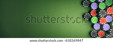 Casino poker chips on green felt background. Banner, copy space, top view. 3d illustration