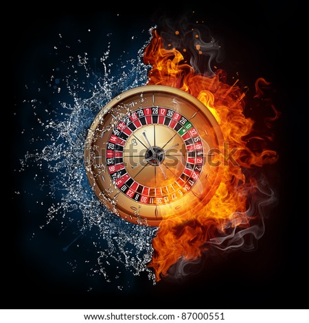 Casino Roulette in Water and Fire Isolated on Black Background.