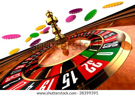 Casino Roulette on white - stock photo