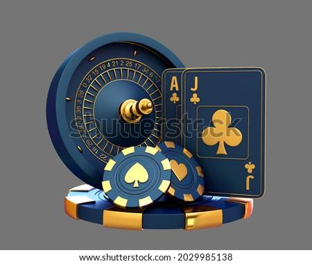 casino roulette set card chips 3d render 3d rendering illustration