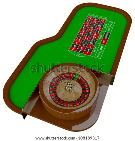 Casino roulette table. Gambling illustration concept.