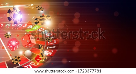 Casino Roulette theme background illustration with roulette wheel, flying casino chips and dice. 3D illustration