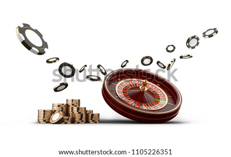 Casino roulette wheel chips and dice isolated on white. Casino game 3D chips. Online casino banner. Black realistic chip. Gambling concept, poker mobile app icon. Chips falling in the air.