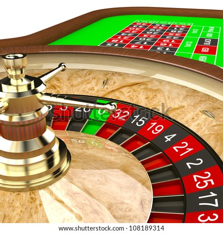 Casino roulette wheel close up. Gambling illustration concept.