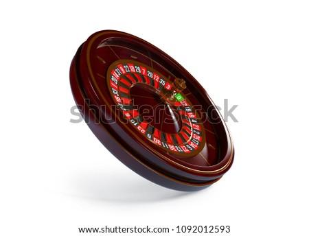 Casino roulette wheel isolated on white background. 3d rendering illustration. #1092012593