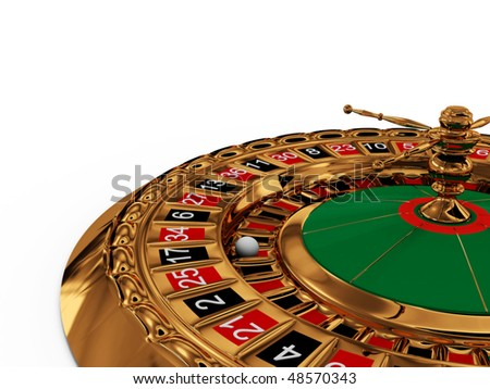 Casino roulette wheel on white background. 3D