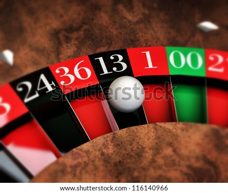 casino roulette with white ball on thirteen number