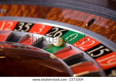 Casino roulette, zero wins - stock photo