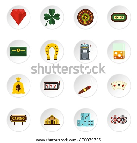 Casino set icons in flat style isolated on white background