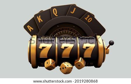 casino slot machine roulette dice set card chips 3d render 3d rendering illustration