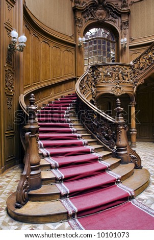 Casino stairs with carpet strip