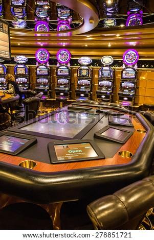 Casino table and gaming slot machines in gambling casino, Cruise liner Splendida, MSC