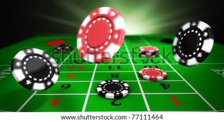 Casino tokens rolling on roulette felt table (3d illustration)