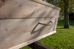 Casket made of recycled wood