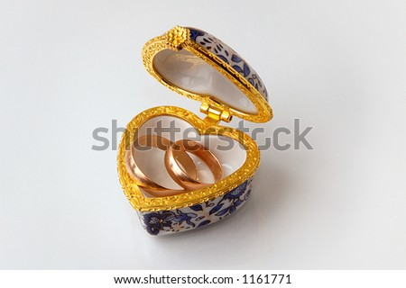 stock photo Casket small box with golden wedding rings on white