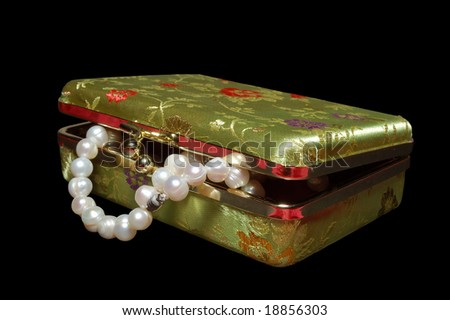 Casket with pearls isolated on black