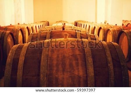 Casks in wine cellar