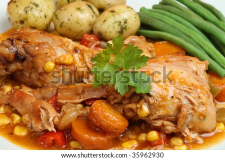 Casseroled chicken with new potatoes and green beans