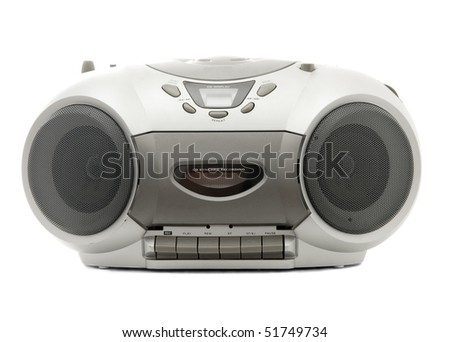 Cassette and compact disc player on white background