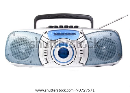 Cassette player radio isolated on white background