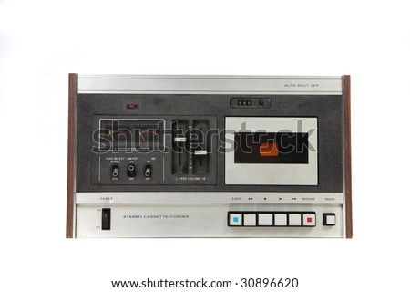 Cassette Vintage Tape Recording Device Isolated on White Background