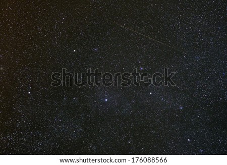 Cassiopeia constellation with shooting star.