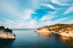 Cassis, Calanques, France. French Riviera. Beautiful Nature Of Cote De Azur On The Azure Coast Of France. Calanques - A Deep Bay Surrounded By High Cliffs. Elevated View.