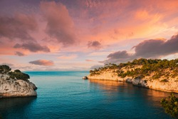 Cassis, Calanques, France. French Riviera. Beautiful Nature Of Cote De Azur On The Azure Coast Of France. Calanques - A Deep Bay Surrounded By High Cliffs. Altered Sunset Sunrise Sky. Elevated View