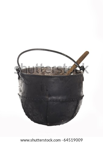 cast-iron cauldron isolated on white