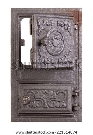Cast iron door for furnaces. Isolated on the white background. #221514094
