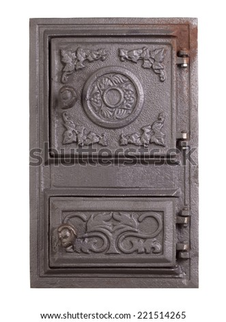 Cast iron door for furnaces. Isolated on the white background. #221514265