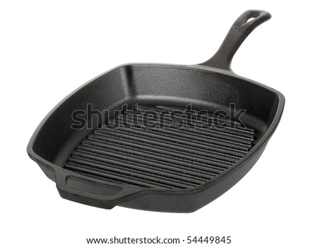 Cast iron grill pan isolated on white