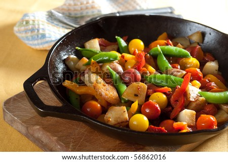 Cast Iron Skillet with Fried Vegetables