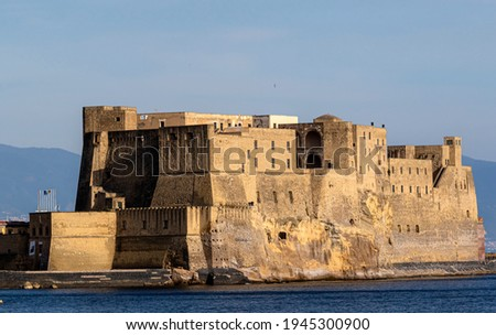 Castel dell'Ovo, Naples, Campania, Castel dell'Ovo ,Egg Castle is a seaside castle located on the former island of Megaride, now a peninsula, on the Gulf of Naples in Italy ストックフォト ©