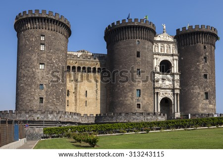 Castel Nuovo (New Castle) is a medieval castle located in central Naples, Italy. First erected in 1279, it is one of the main architectural landmarks and tourist attractions in the city. #313243115