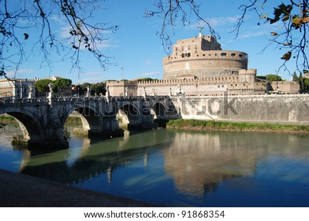 Castel Sant'angelo and Bernini's statue on the bridge over the Tevere river, Rome, Italy.